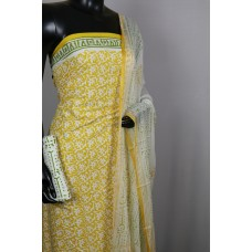 Printed Soft Cotton Unstitched Salwar Suit Material (Yellow Combo) BQ AA291