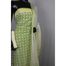 Printed Soft Cotton Unstitched Salwar Suit Material (Green Combo) BQ AA292