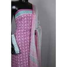 Printed Soft Cotton Unstitched Salwar Suit Material (Pink Combo) BQ AA293
