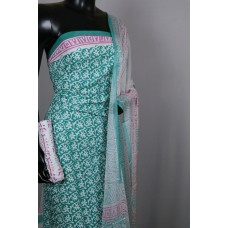 Printed Soft Cotton Unstitched Salwar Suit Material (Turquoise Green Combo) BQ AA294