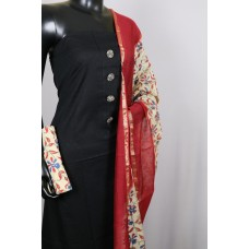 Cotton Jacquard Unstitched Salwar Suit Material With Decorative Buttons (Black Combo) BL KA179