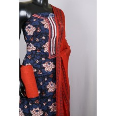Cotton Unstitched Salwar Suit Material Neck Patch With Embroidery (Blue-Red Combo) BL KA180