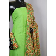 Handloom Cotton Unstitched Suit Material (Green Combo) PN MS195