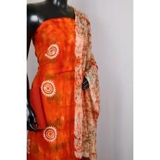 Rayon Unstitched Salwar Suit Material (D.Orange Combo) PN MS198