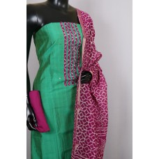 Art Silk Unstitched Material Suit With Sequence Work (Green Combo) PN MS200