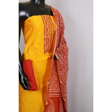 Art Silk Unstitched Material Suit With Sequence Work (yellow Combo) PN MS201