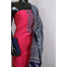 Art Silk Unstitched Material Suit With Sequence Work (Pink Combo) PN MS202