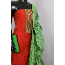 Art Silk Unstitched Material Suit With Sequence Work (Orange Combo) PN MS203