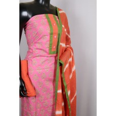 Cotton Unstitched Salwar Suit Material Neck Patch With Decorative Buttons (Pink With Orange Combo) PN MS208