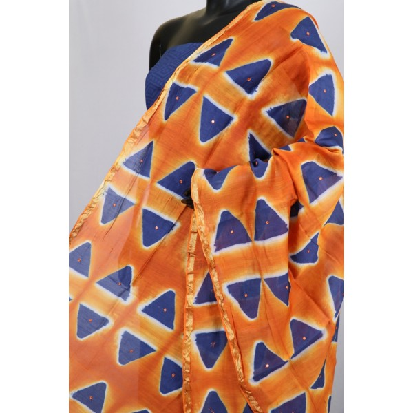 Chanderi Dupatta With Mirror Work (Orange) PNMSD 006