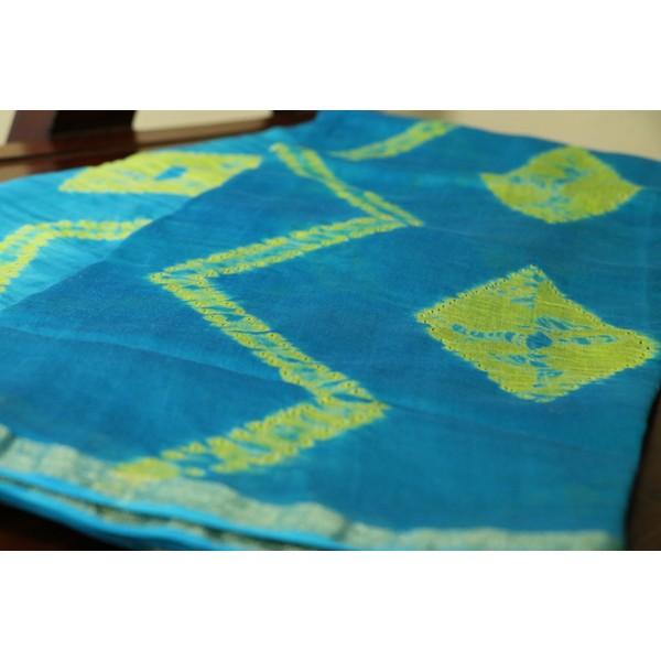 Chanderi Dupatta With Shibori Print (Blue) PNMSD 009