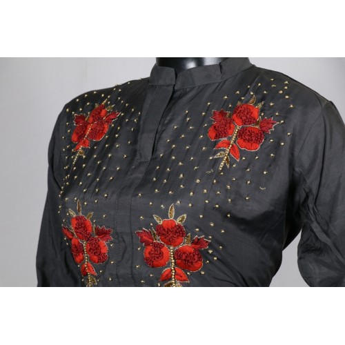 Designer Silk Chanderi Collar Neck Kurtis With Hand Embroidery And
