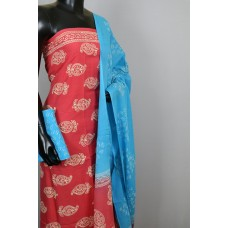 Printed Soft Cotton Unstitched Salwar Suit Material-BL KA368