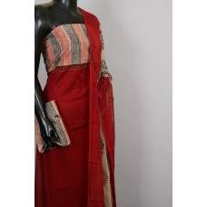 Cotton Jacquard Unstitched Salwar Suit Material With Bagru Printed Yoke- BL KA413