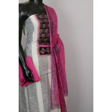 Cotton Unstitched Salwar Suit Material, Neck Patch With kantha work - BL KA415