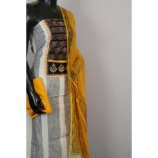 Cotton Unstitched Salwar Suit Material, Neck Patch With kantha work - BL KA417