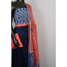 Satin Cotton Jacquard Unstitched Salwar Suit Material With indigo Printed Yoke- BL KA418