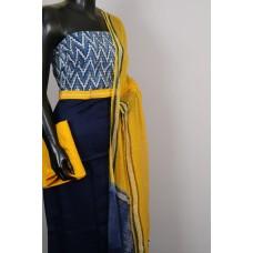 Satin Cotton Jacquard Unstitched Salwar Suit Material With indigo Printed Yoke- BL KA419
