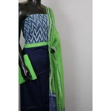 Satin Cotton Jacquard Unstitched Salwar Suit Material With indigo Printed Yoke- BL KA420