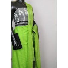 Cotton Unstitched Salwar Suit Material With Ikkat Yoke- BL KA502