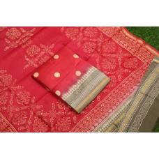 Block Printed Maheswari Unstitched Salwar Suit Material – BQ AA1049