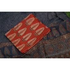 Ajrakh Hand Block Printed Cotton Unstitched Salwar Suit Material -BQ AA1053