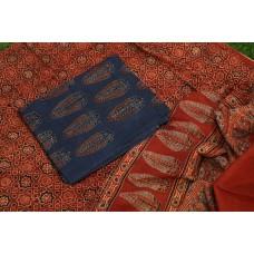 Ajrakh Hand Block Printed Cotton Unstitched Salwar Suit Material -BQ AA1055
