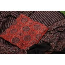 Ajrakh Hand Block Printed Cotton Unstitched Salwar Suit Material -BQ AA941