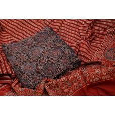 Ajrakh Hand Block Printed Cotton Unstitched Salwar Suit Material -BQ AA943