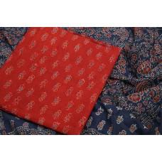 Ajrakh Hand Block Printed Cotton Unstitched Salwar Suit Material -BQ AA947