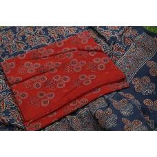 Ajrakh Hand Block Printed Cotton Unstitched Salwar Suit Material -BQ AA948