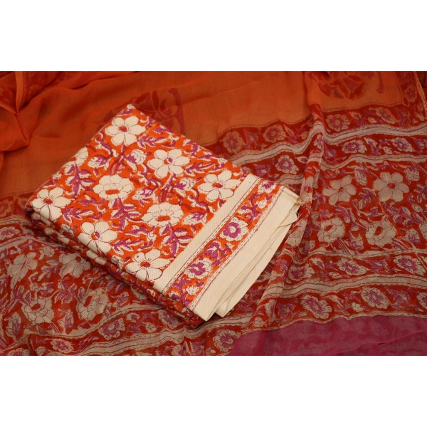 Semi Pashmina Unstitched Block Printed Salwar Suit Material - BQ AA953