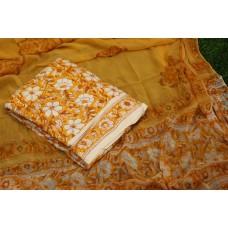 Semi Pashmina Unstitched Block Printed Salwar Suit Material - BQ AA954