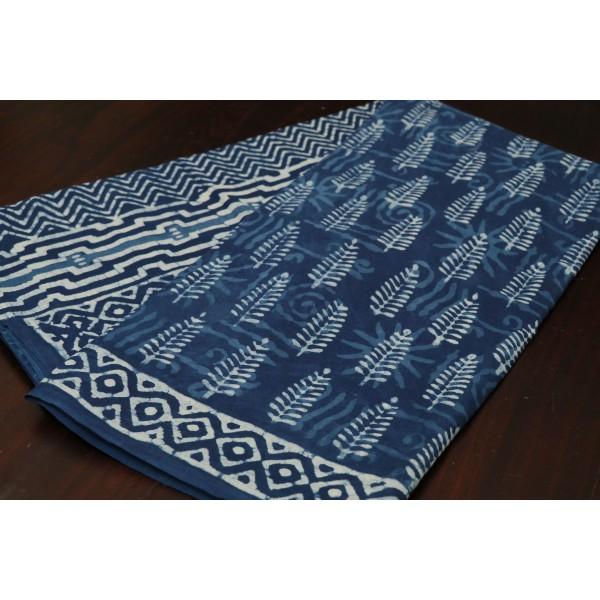 Block Printed Indigo Soft Cotton Saree - VC SR063