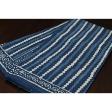 Block Printed Indigo Soft Cotton Saree - VC SR064