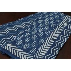 Block Printed Indigo Soft Cotton Saree - VC SR065