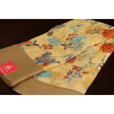 Floral Printed Linen Cotton Saree With Border- VC SR070