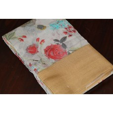 Floral Printed Linen Cotton Saree With Border- VC SR071