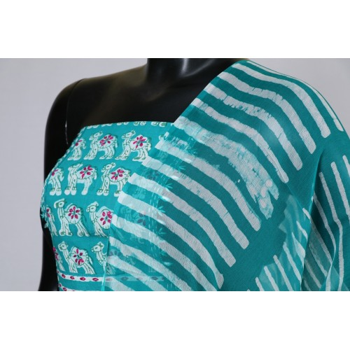 cb9766308f Slub Cotton Unstitched Salwar Suit Material Neck Patch With Hand Embroidery  (Turquoise Blue Combo) BL KA097