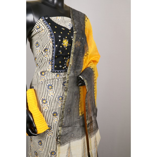 Cotton Unstitched Salwar Suit Material Neck Patch With Flower Embroidery (Yellow Combo) BL KA101