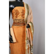 Chanderi Unstitched Salwar Suit Material With Block Print (Orange Combo) BQ AA215