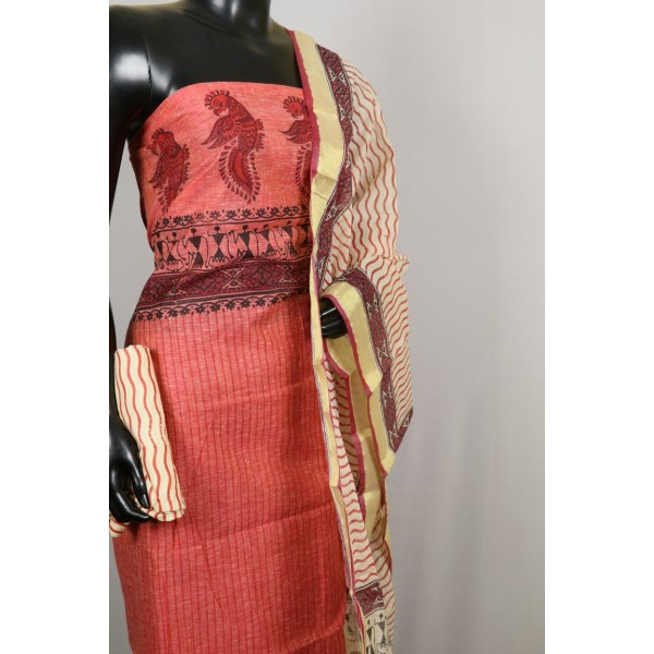 Chanderi Unstitched Salwar Suit Material With Block Print (Peach Combo) BQ AA217