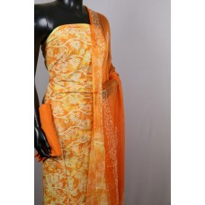 Printed Soft Cotton Unstitched Suit Material (Orange Combo) BQ AA242