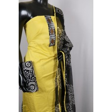 Cotton Unstitched Salwar Suit Material Neck Patch With Decorative Buttons (Yellow Combo) IN HH077
