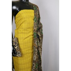 Handloom Cotton Unstitched Salwar Suit Material (Yellow Combo) PN MS187