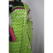 Chanderi Unstitched Salwar Suit Material (Green Combo) VC SS002