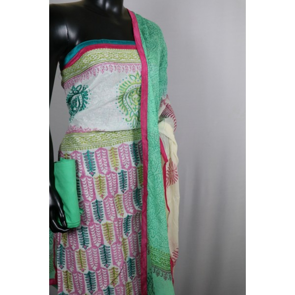 Chanderi Unstitched Salwar Suit Material With Embroidery (Green Combo) VC SS003