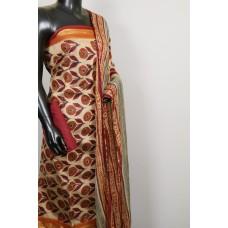 Gadwaal Chanderi Unstitched Salwar Suit Material With Crochet Dupatta – VC SS008