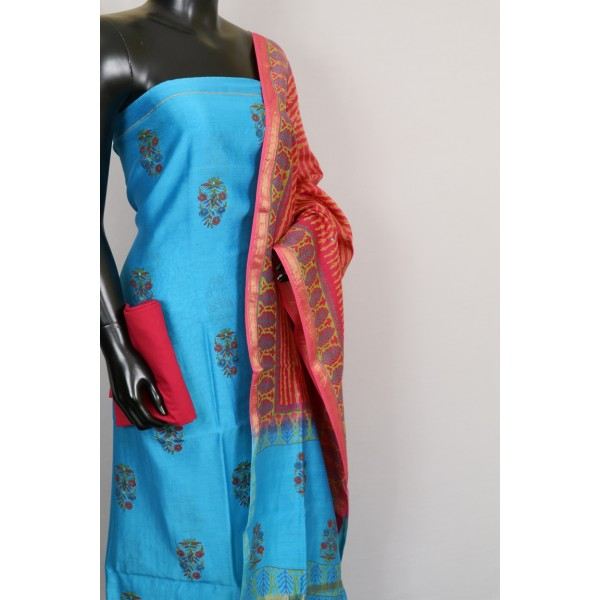 70 Gms Chanderi Unstitched Salwar Suit Material – VK EA124