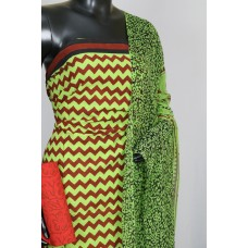 Cotton Unstitched Suit Material (Green Combo) BL KA013